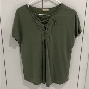 BLUSH BOUTIQUE olive green lace up tee